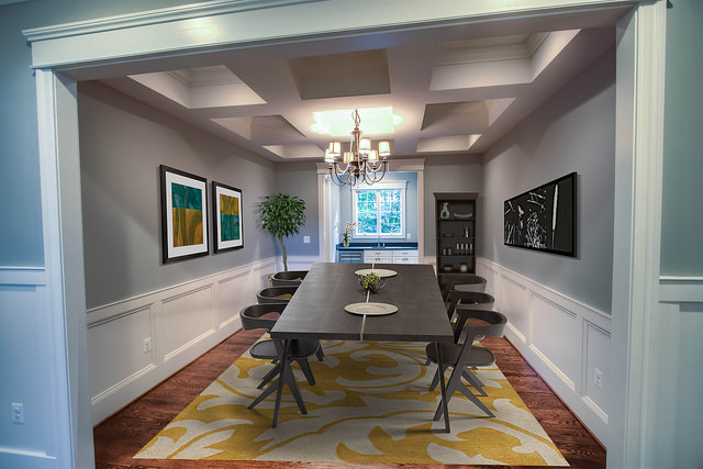 Formal Dining Room with Coffered Ceilings