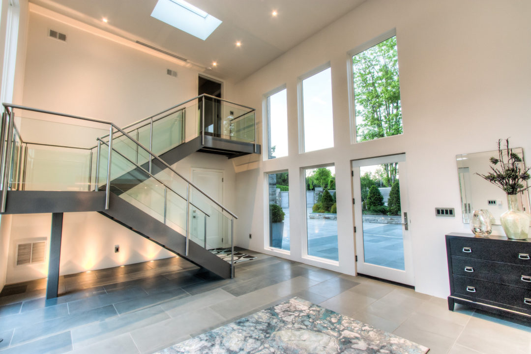 The two-story atrium with heated floors